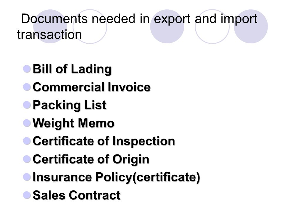 Documents needed in export and import transaction