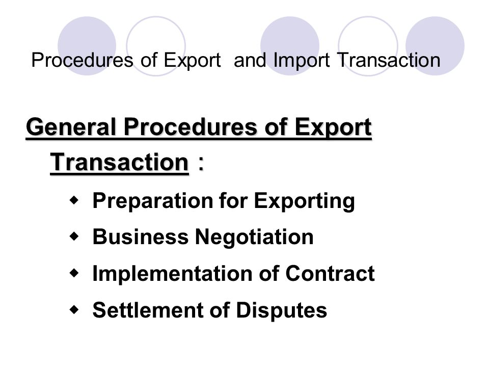 Procedures of Export and Import Transaction