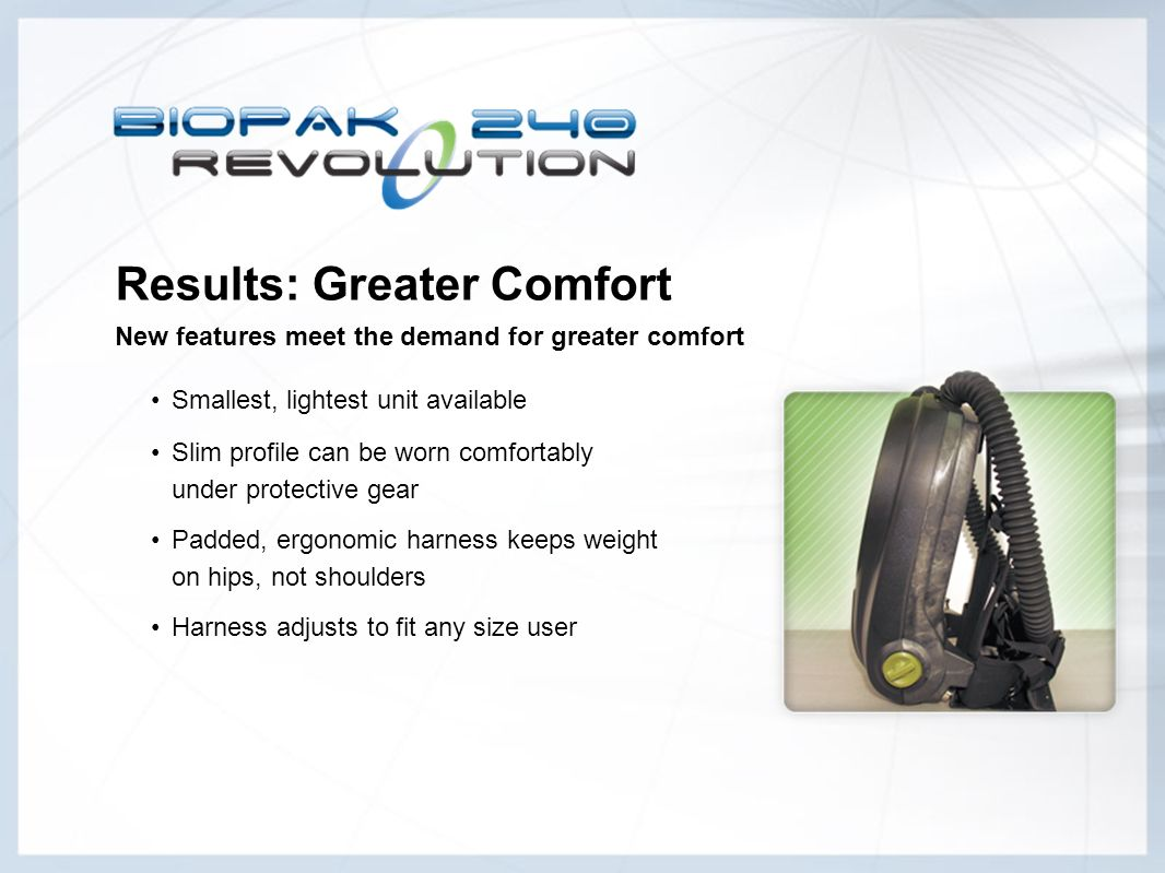 Results: Greater Comfort New features meet the demand for greater comfort
