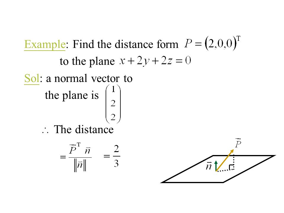 Example: Find the distance form