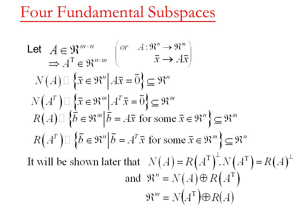 Four Fundamental Subspaces