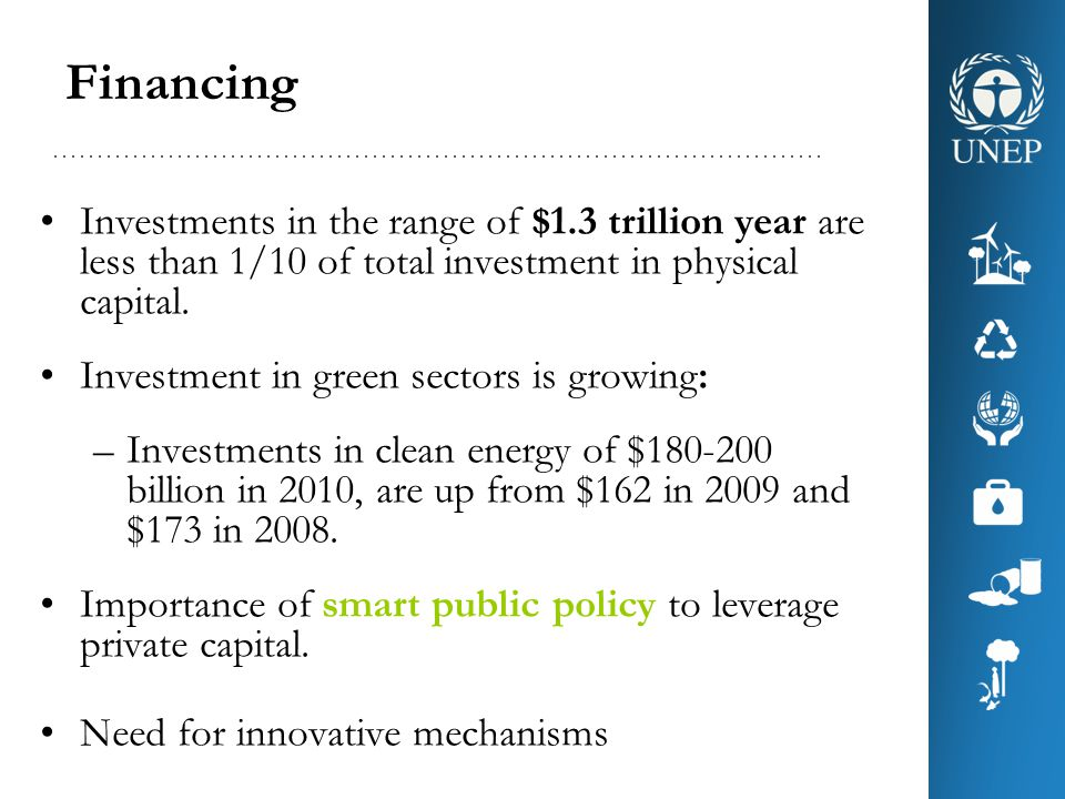 Financing Investments in the range of $1.3 trillion year are less than 1/10 of total investment in physical capital.