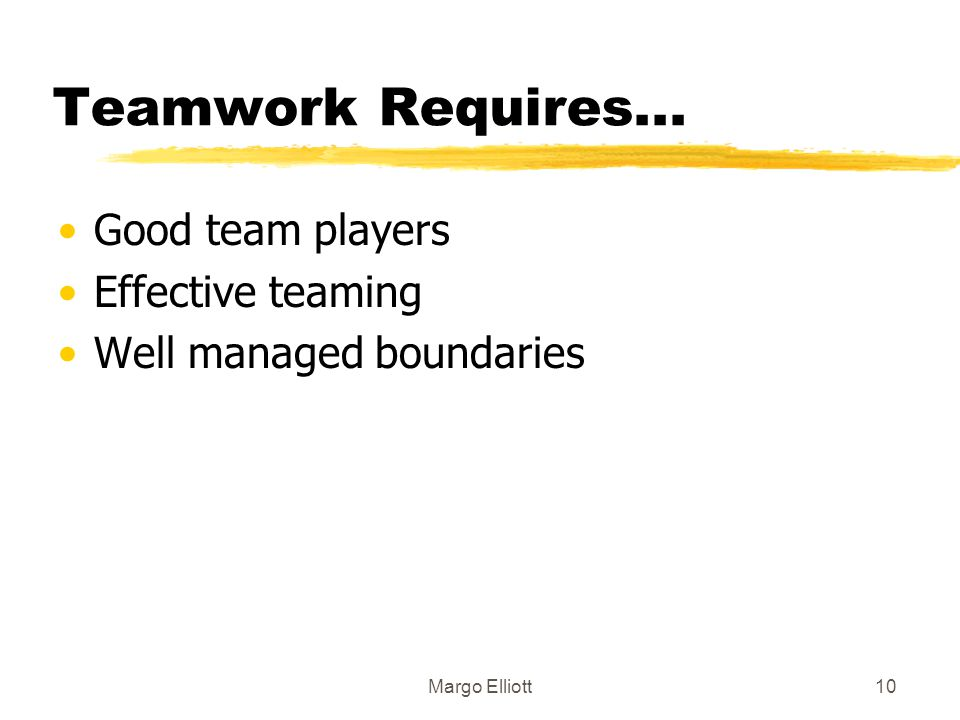 Teamwork Requires... Good team players Effective teaming