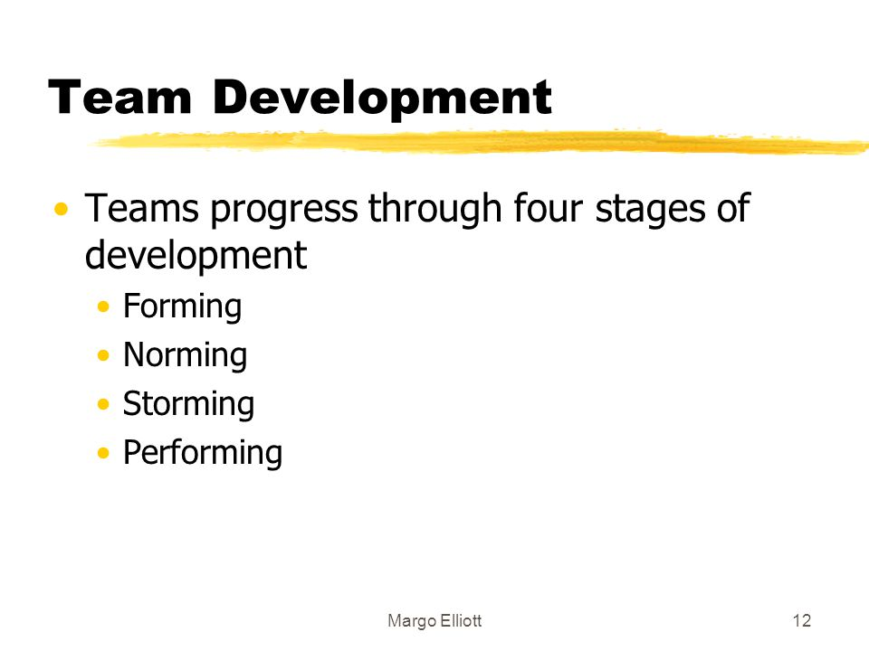Team Development Teams progress through four stages of development