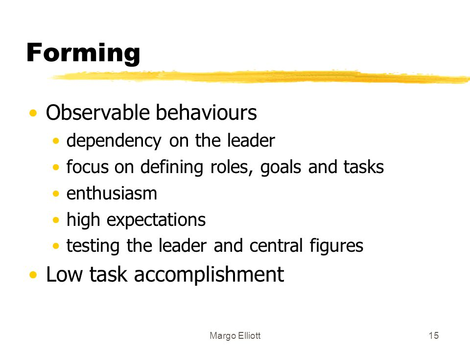 Forming Observable behaviours Low task accomplishment