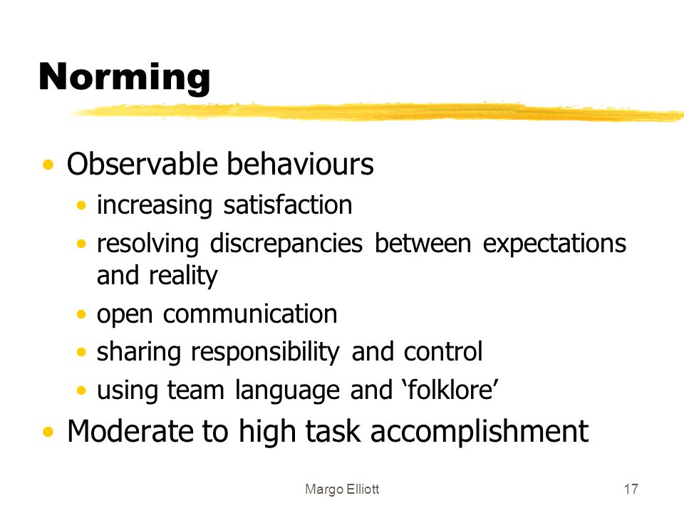 Norming Observable behaviours Moderate to high task accomplishment