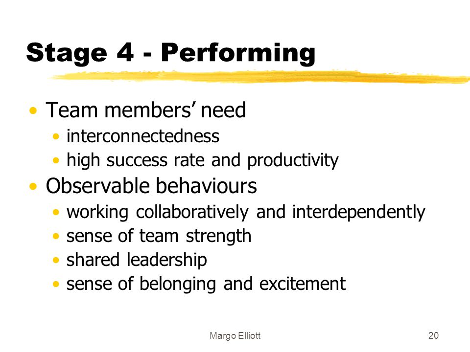 Stage 4 - Performing Team members' need Observable behaviours