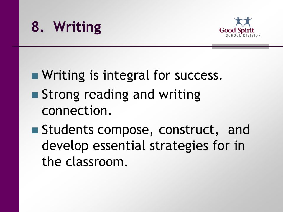 8. Writing Writing is integral for success.