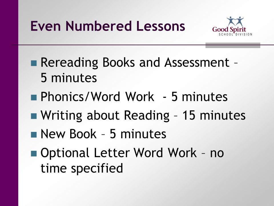 Even Numbered Lessons Rereading Books and Assessment – 5 minutes