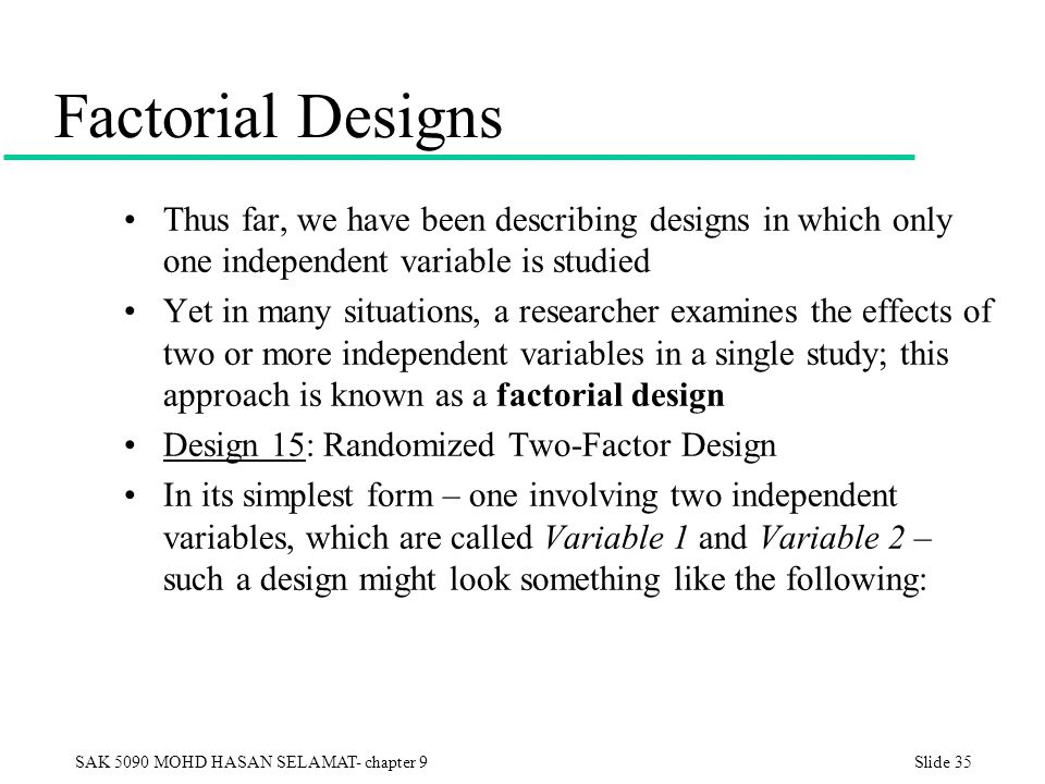 Factorial Designs Thus far, we have been describing designs in which only one independent variable is studied.