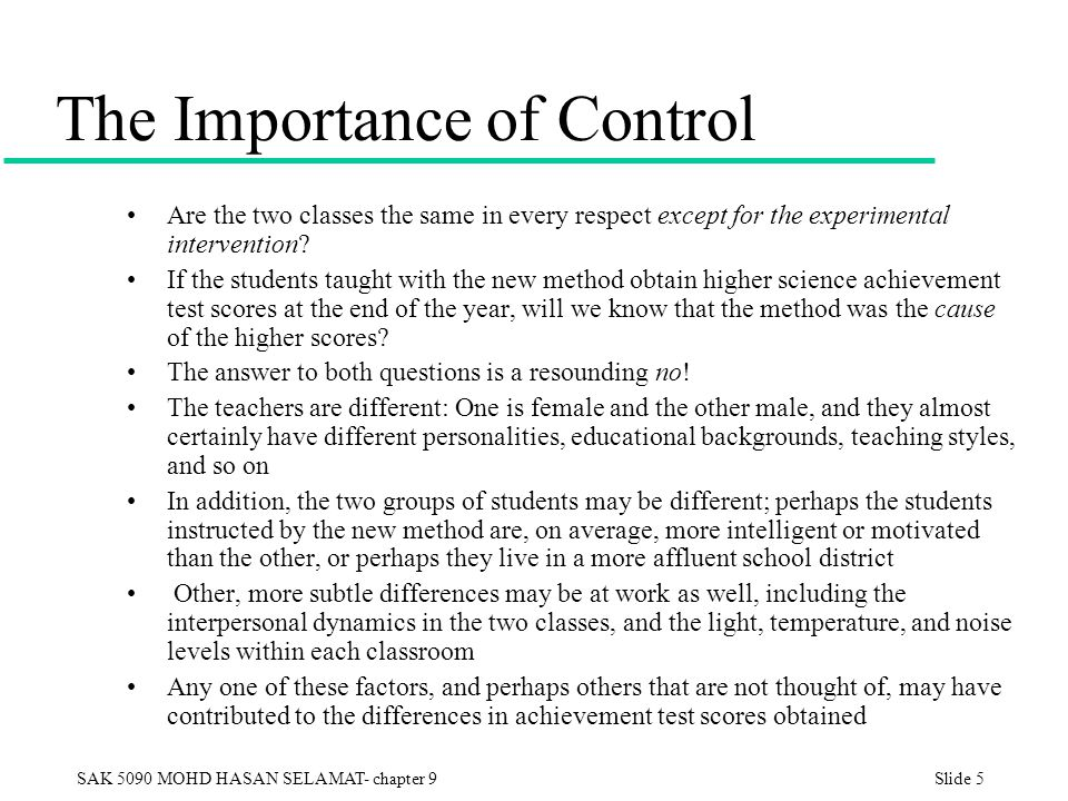 The Importance of Control