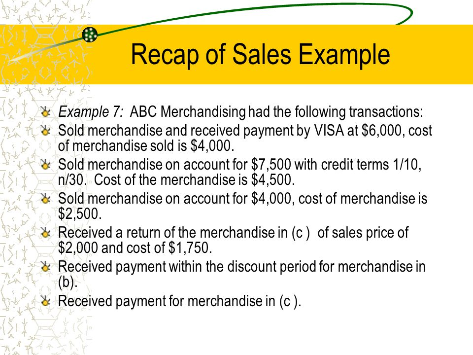 Recap of Sales Example Example 7: ABC Merchandising had the following transactions: