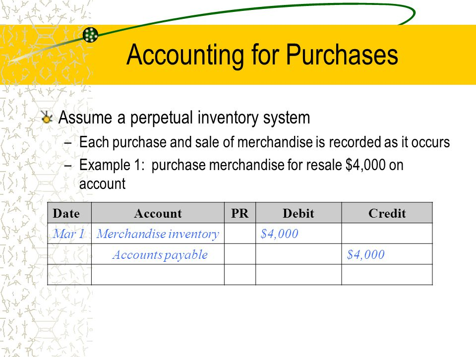 Accounting for Purchases
