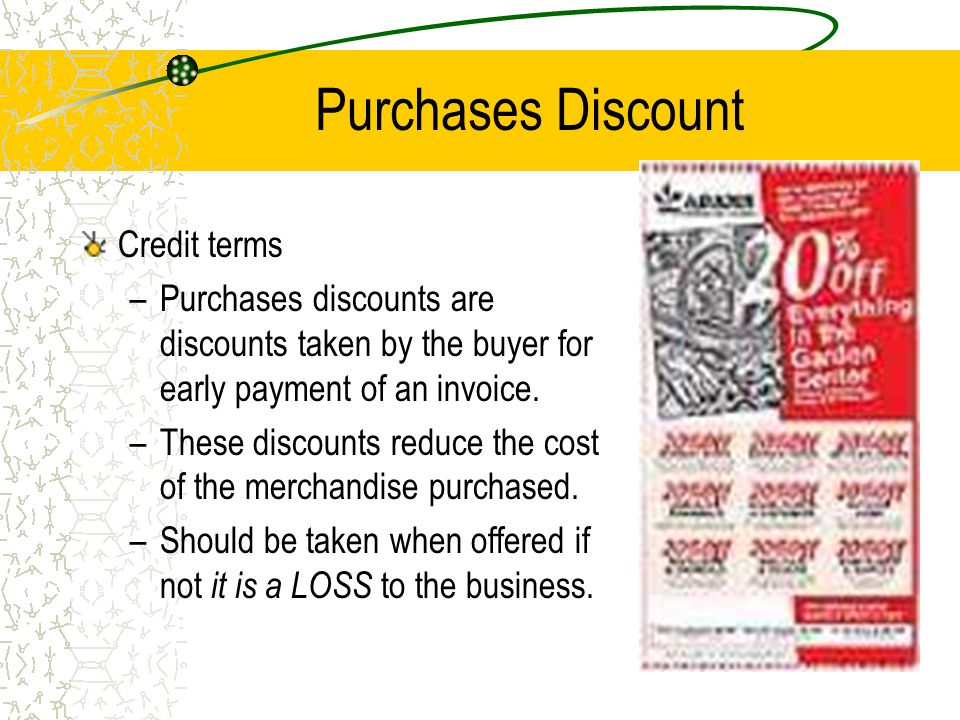 Purchases Discount Credit terms
