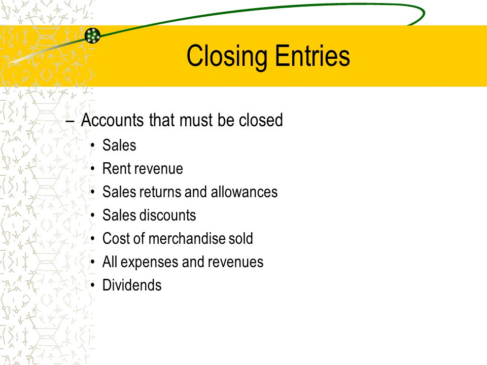 Closing Entries Accounts that must be closed Sales Rent revenue