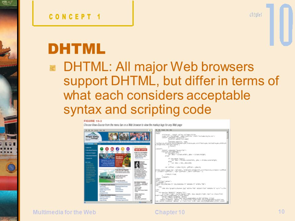 CONCEPT 1 DHTML. DHTML: All major Web browsers support DHTML, but differ in terms of what each considers acceptable syntax and scripting code.