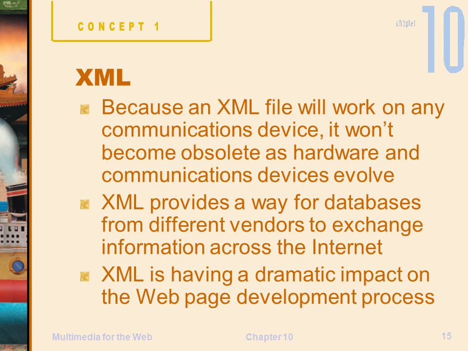 CONCEPT 1 XML. Because an XML file will work on any communications device, it won't become obsolete as hardware and communications devices evolve.