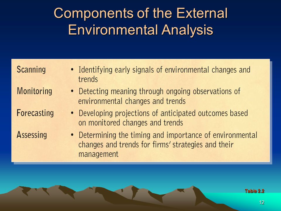 Components of the External Environmental Analysis