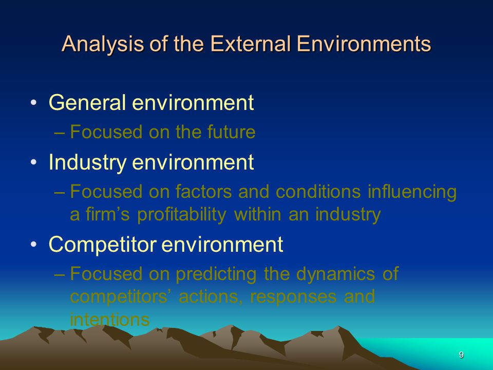 Analysis of the External Environments