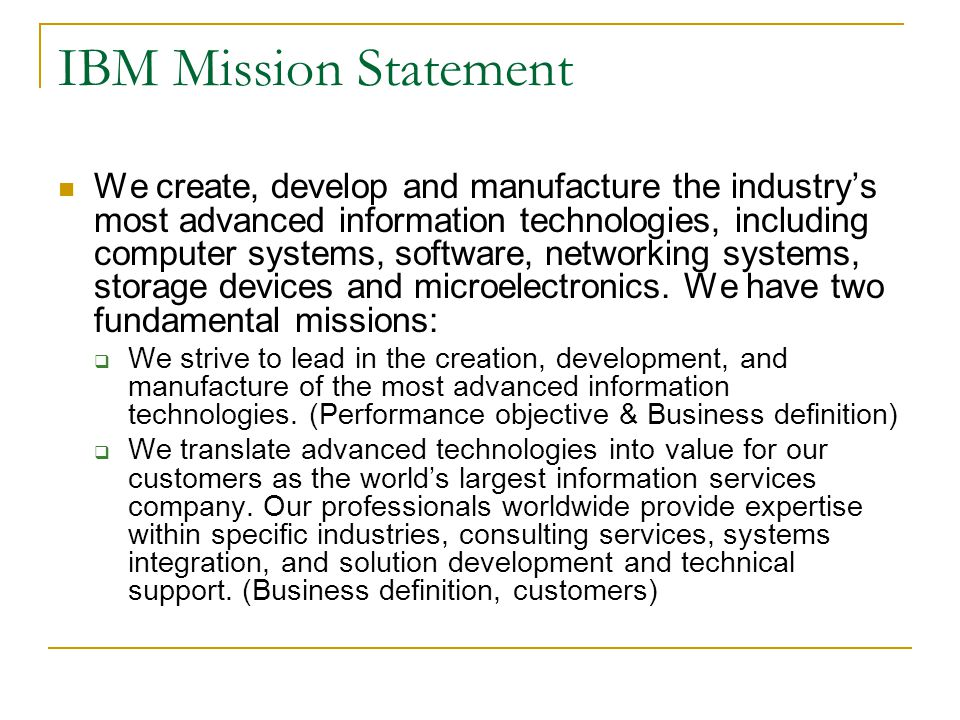 IBM Mission Statement