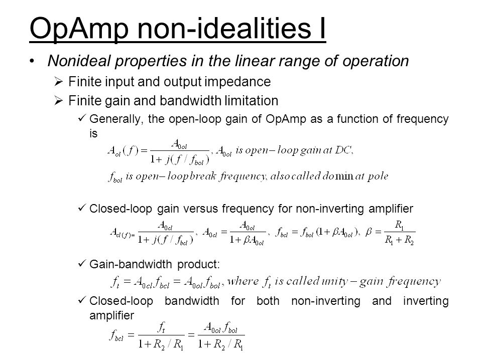 OpAmp non-idealities I