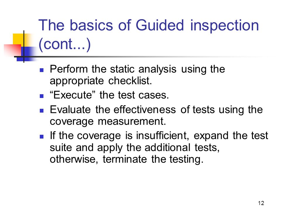 The basics of Guided inspection (cont...)