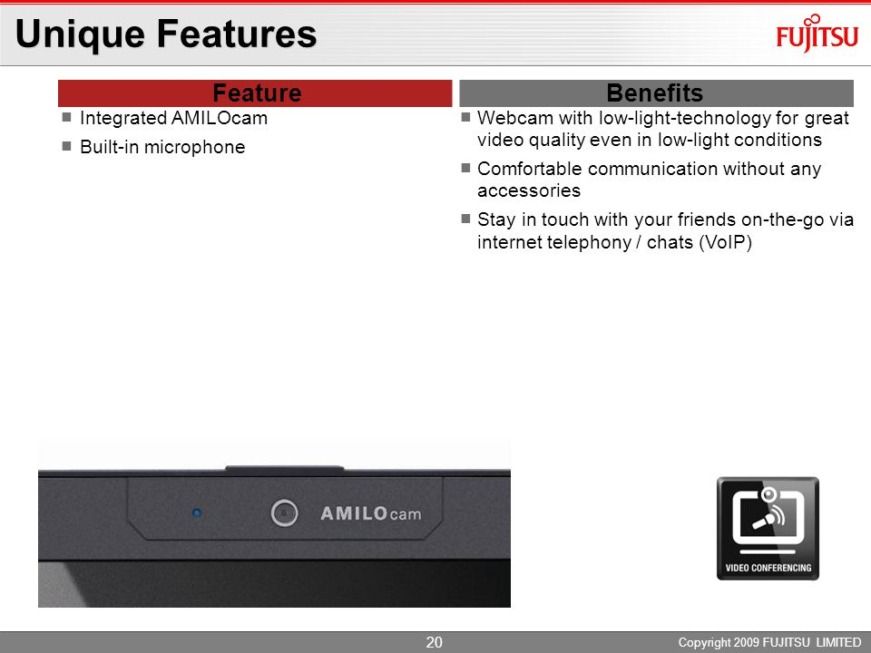 Unique Features Feature Benefits Integrated AMILOcam
