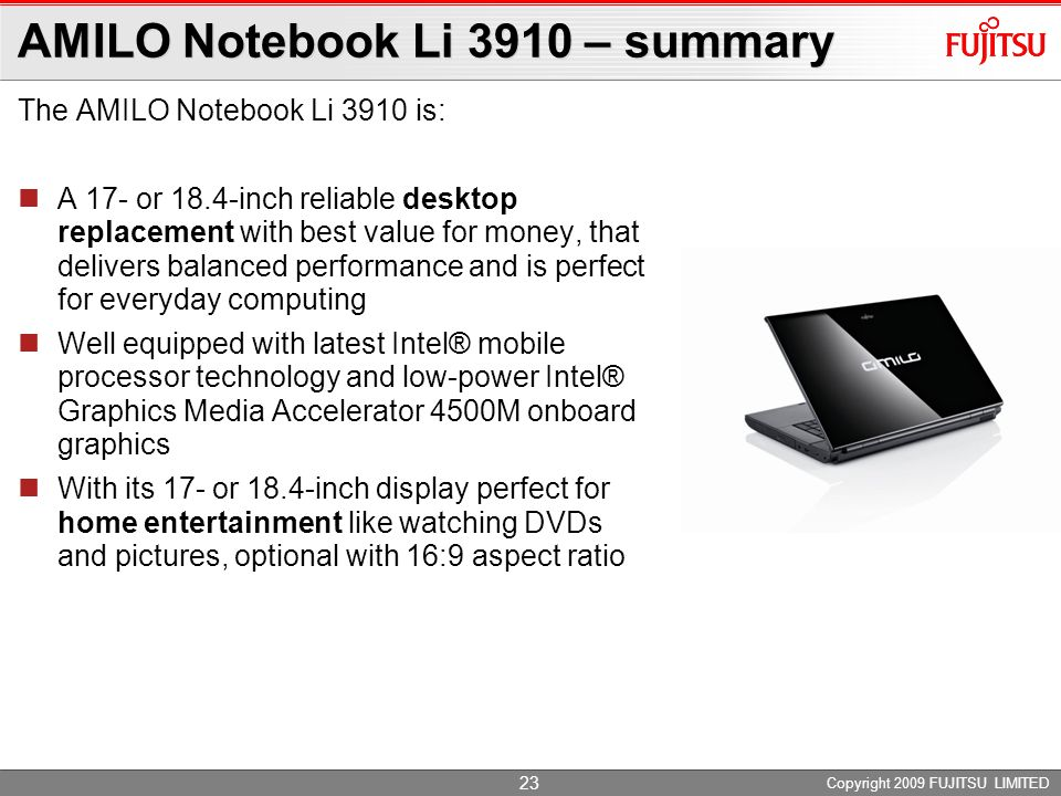 AMILO Notebook Li 3910 – summary