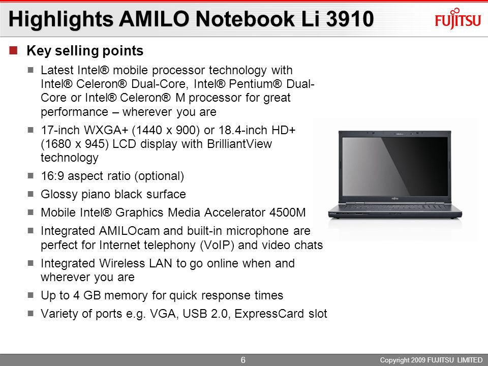 Highlights AMILO Notebook Li 3910