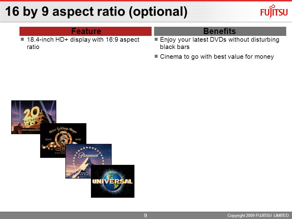 16 by 9 aspect ratio (optional)