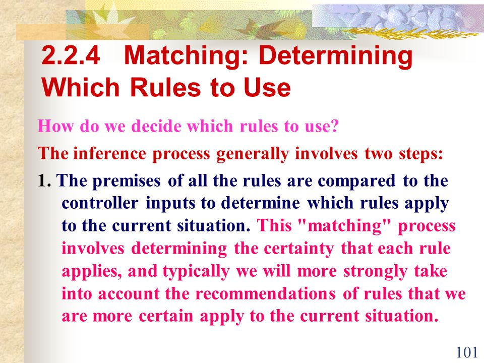 2.2.4 Matching: Determining Which Rules to Use