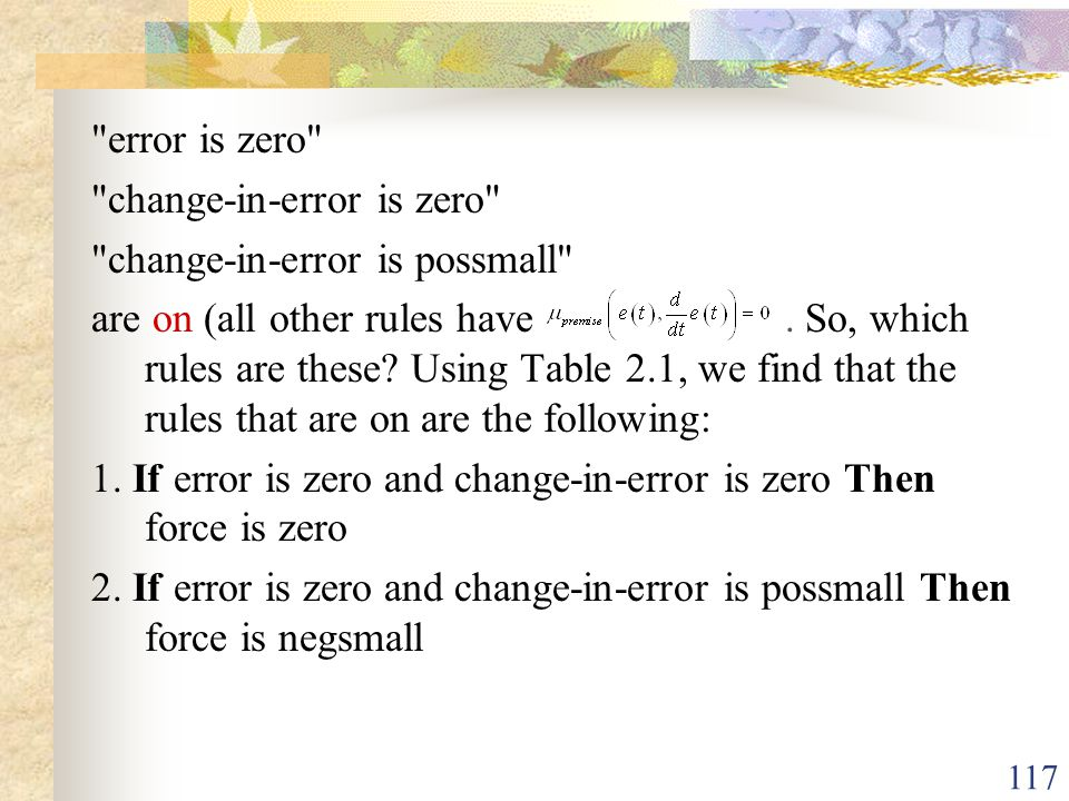 error is zero change-in-error is zero change-in-error is possmall