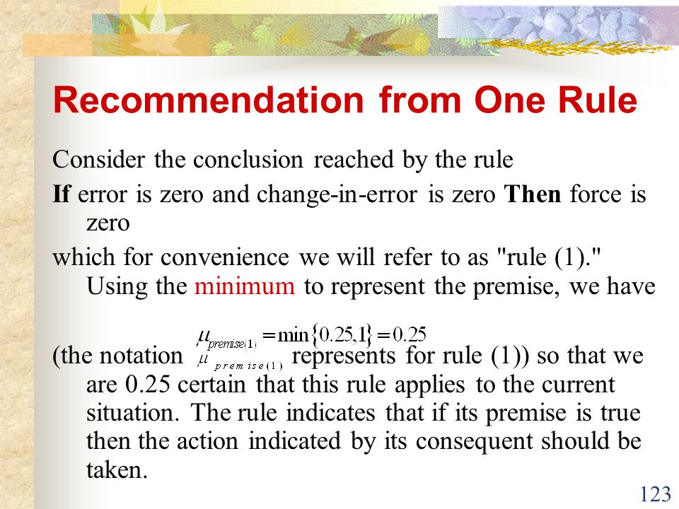 Recommendation from One Rule