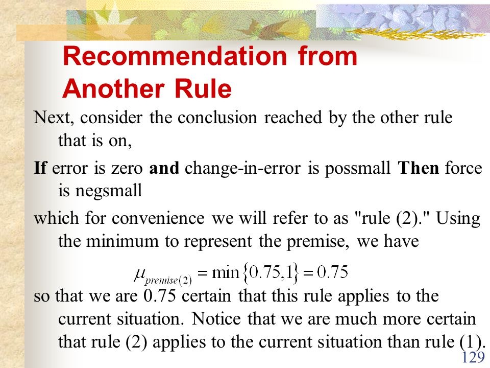 Recommendation from Another Rule