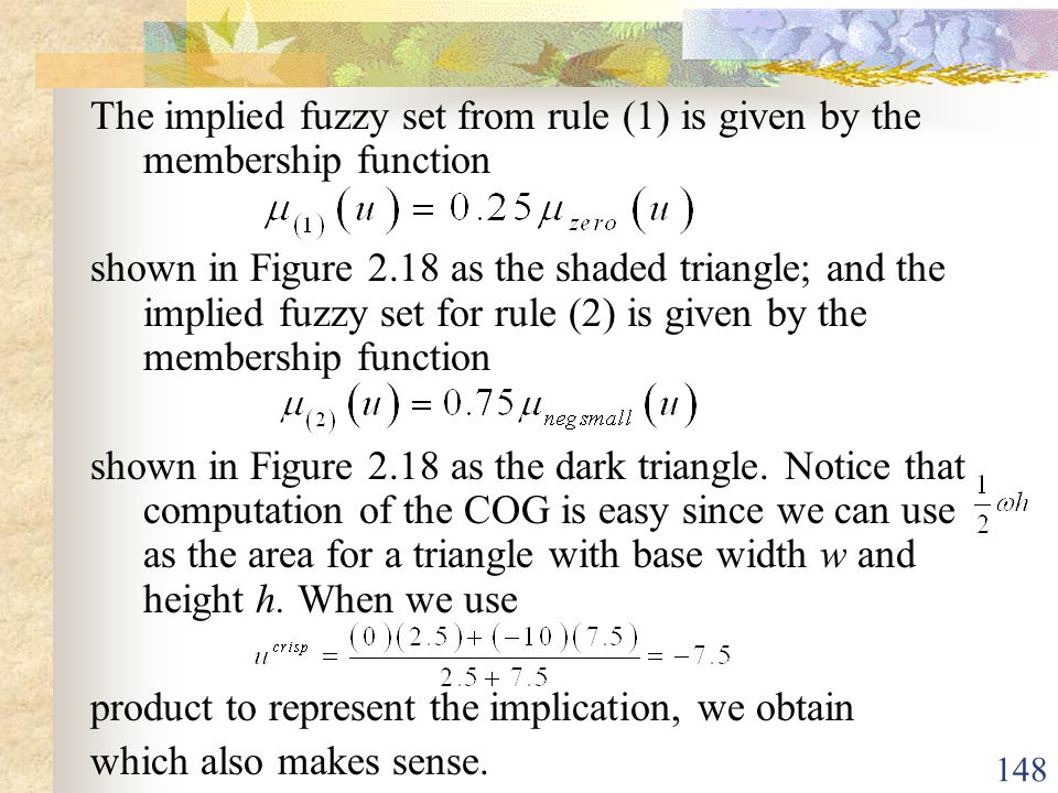 The implied fuzzy set from rule (1) is given by the membership function