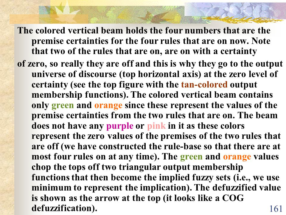 The colored vertical beam holds the four numbers that are the premise certainties for the four rules that are on now. Note that two of the rules that are on, are on with a certainty