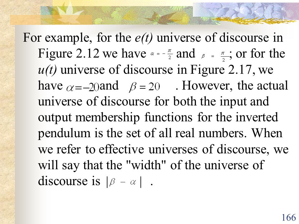 For example, for the e(t) universe of discourse in Figure 2