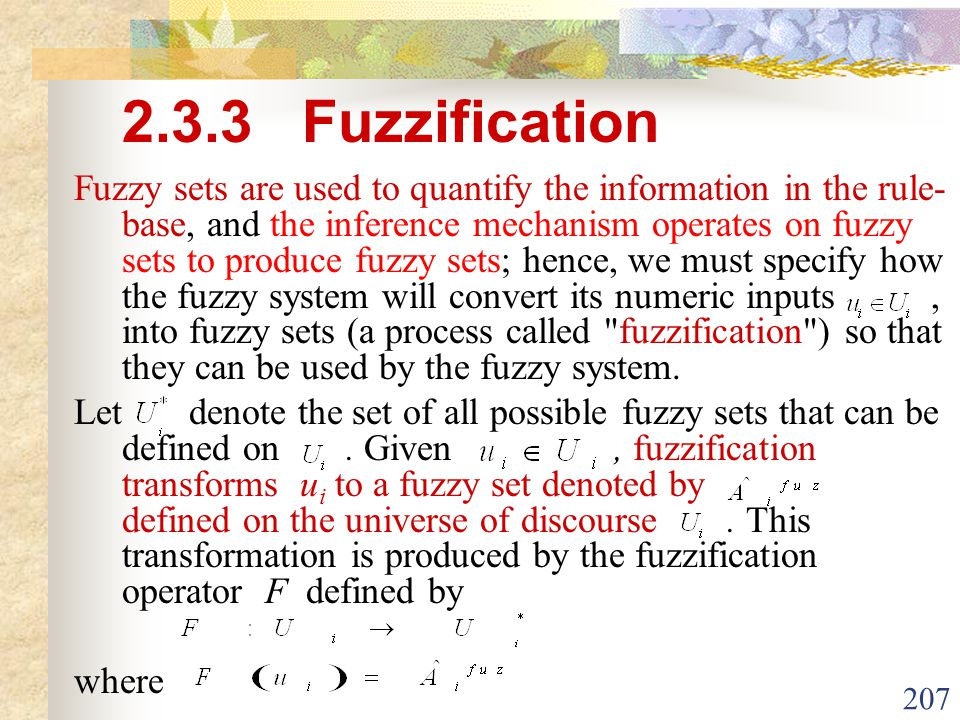 2.3.3 Fuzzification