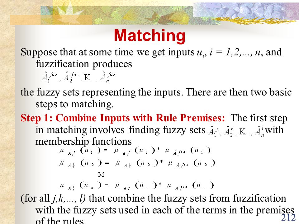 Matching Suppose that at some time we get inputs ui, i = 1,2,..., n, and fuzzification produces.
