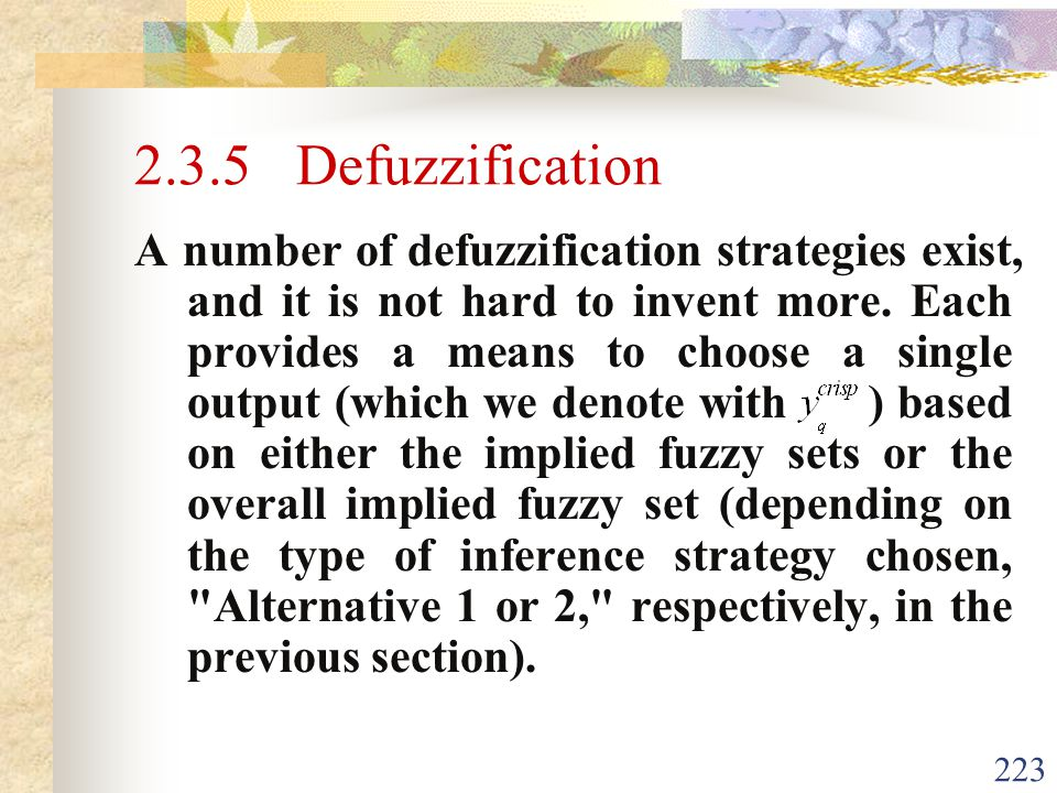 2.3.5 Defuzzification