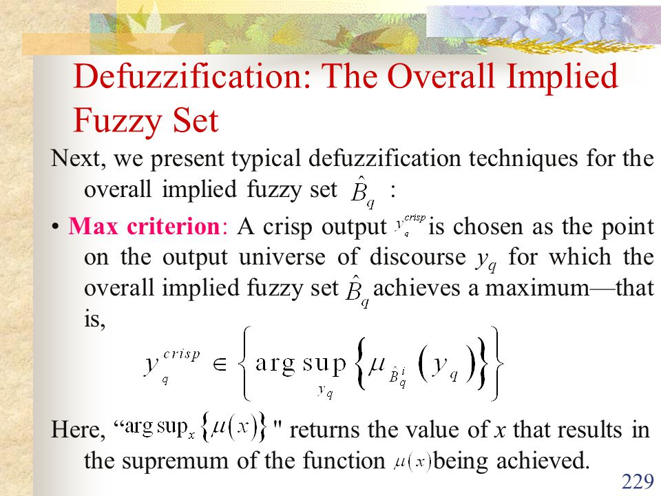 Defuzzification: The Overall Implied Fuzzy Set