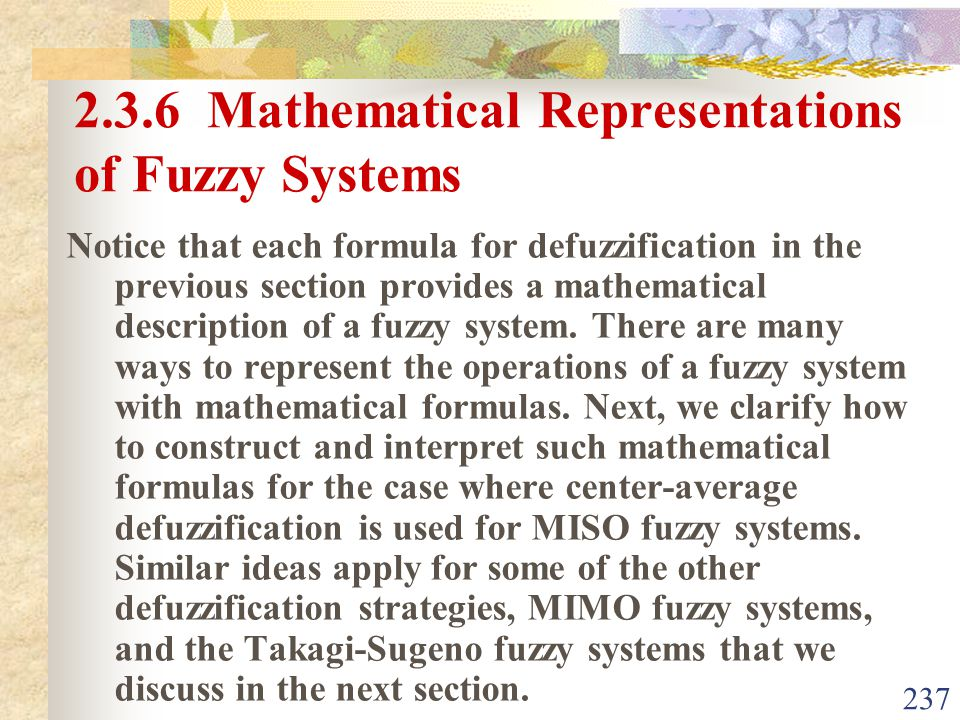 2.3.6 Mathematical Representations of Fuzzy Systems