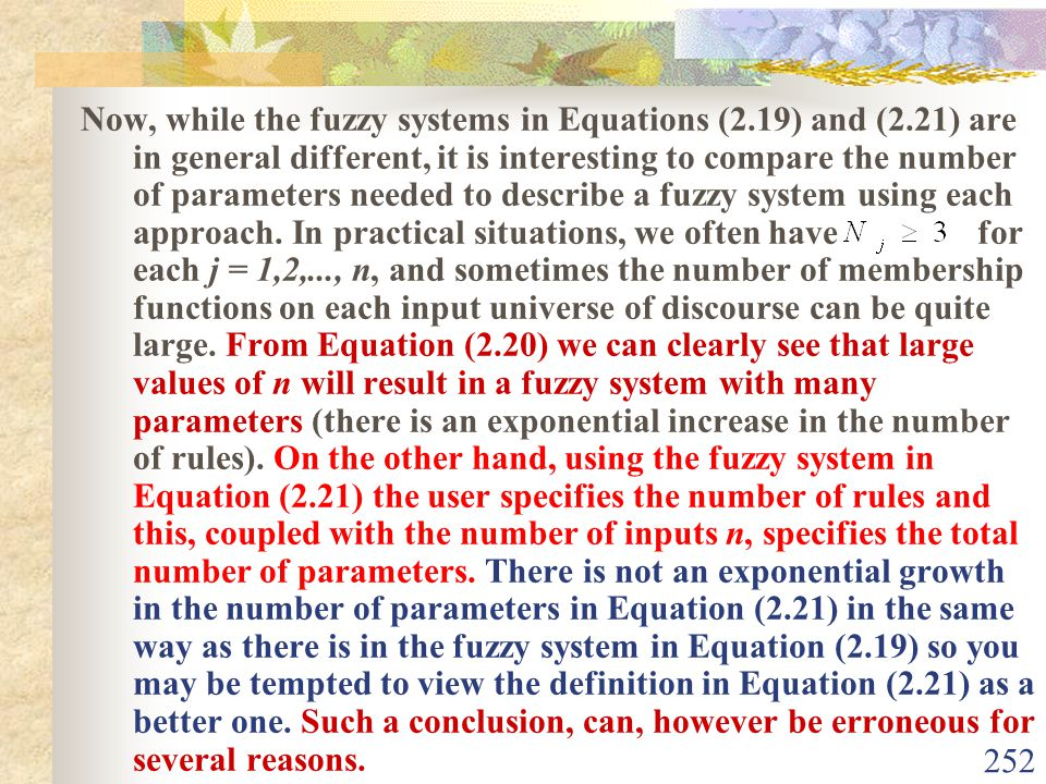 Now, while the fuzzy systems in Equations (2. 19) and (2
