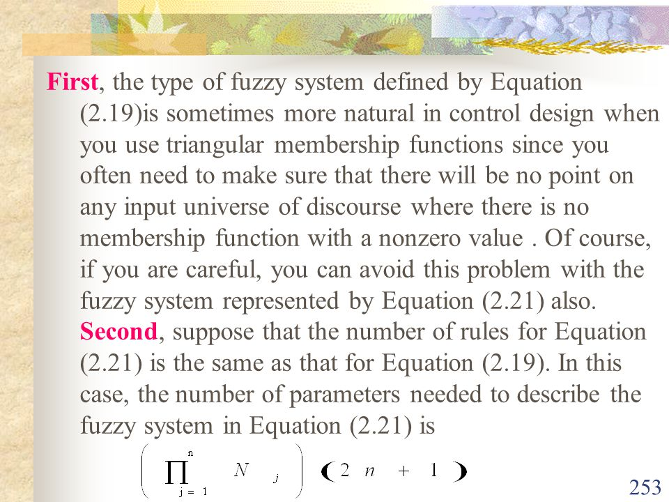First, the type of fuzzy system defined by Equation (2