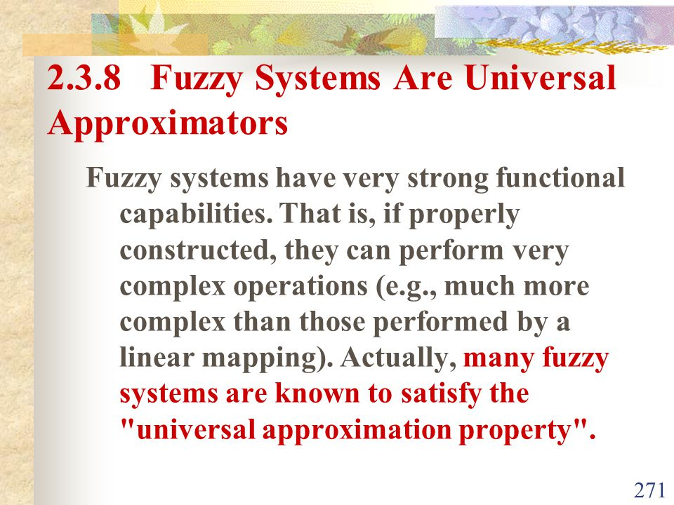 2.3.8 Fuzzy Systems Are Universal Approximators