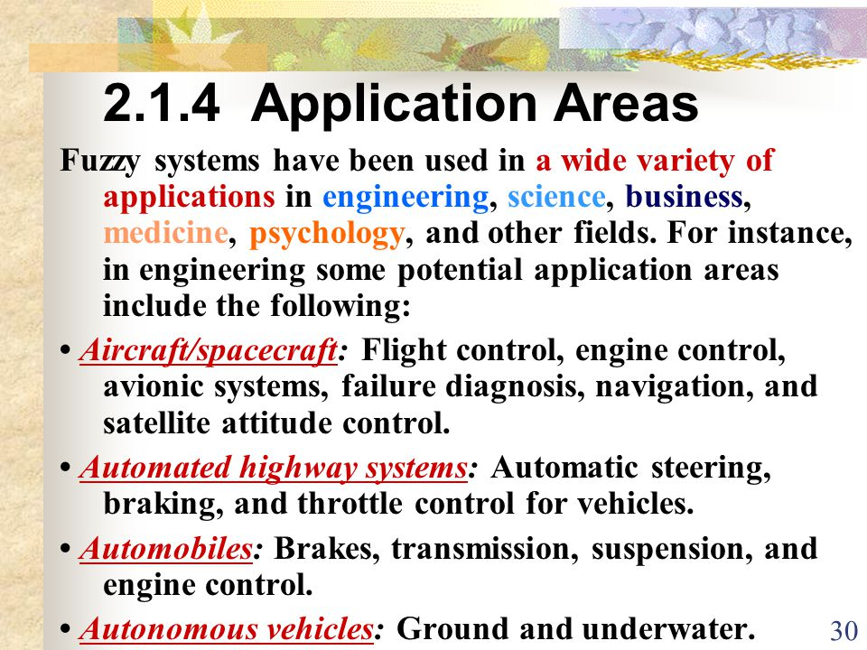 2.1.4 Application Areas