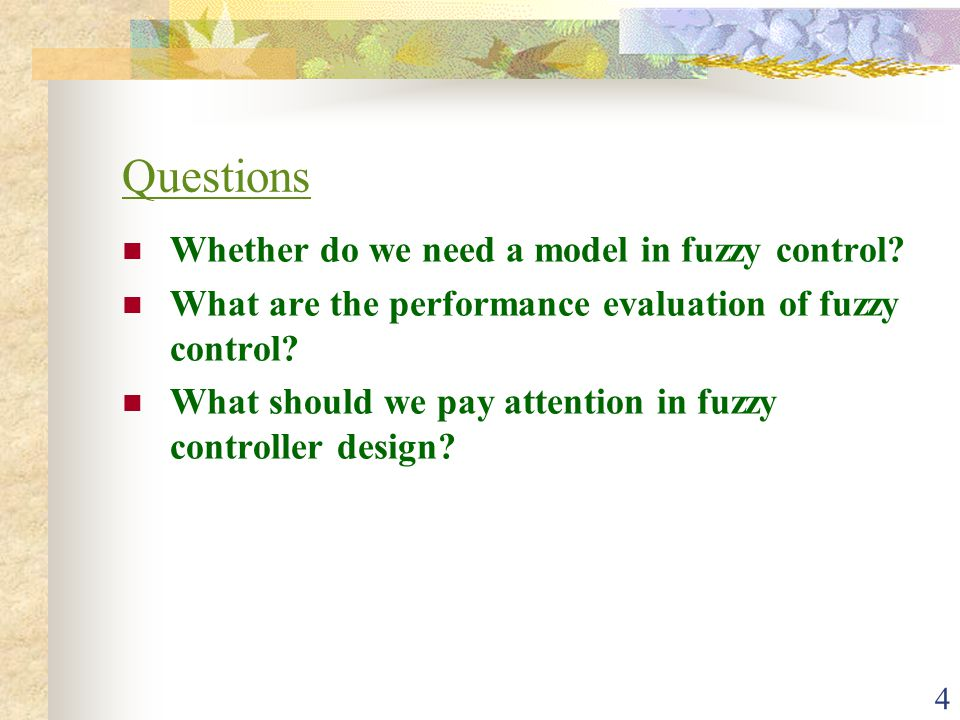 Questions Whether do we need a model in fuzzy control