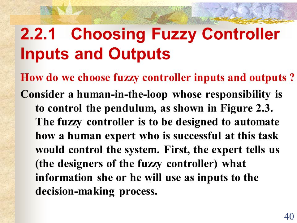 2.2.1 Choosing Fuzzy Controller Inputs and Outputs