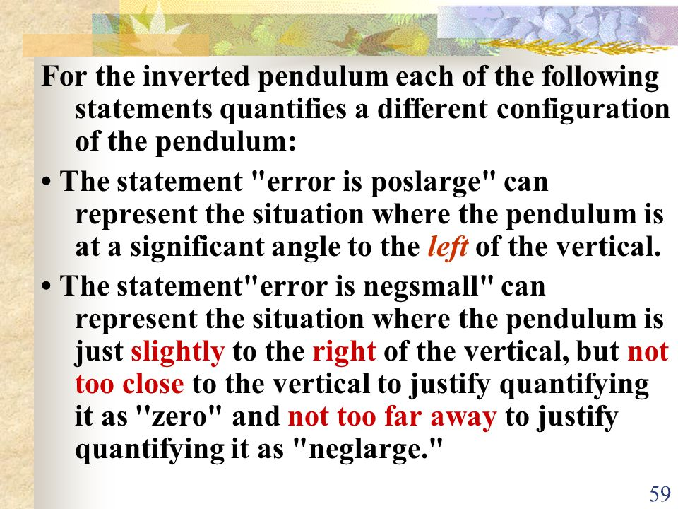 For the inverted pendulum each of the following statements quantifies a different configuration of the pendulum: