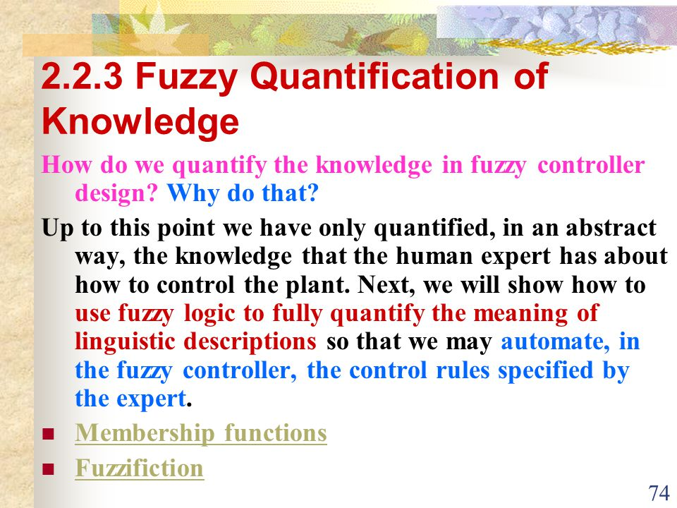 2.2.3 Fuzzy Quantification of Knowledge